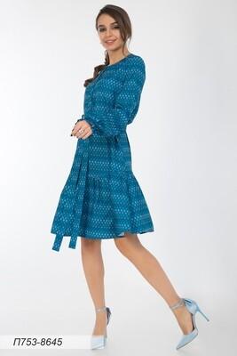 Платье 753 вискоза твил син-сирен орнамент