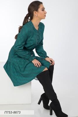 Платье 753 вискоза твил изумруд-чер волна