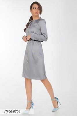 Платье 766 шелк-шифон плательн сер-пудр узор