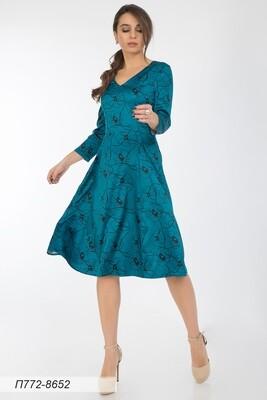 Платье 772 шелк-шифон плательн изумр-чер маки