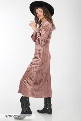 Платье 767 велюр бежевый