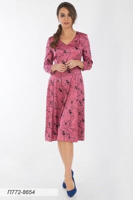 Платье 772 шелк-шифон плательн роз-чер маки
