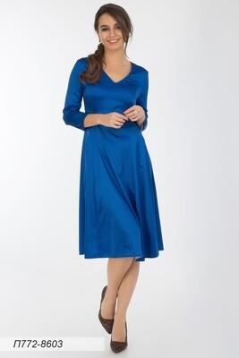 Платье 772 шелк-шифон плательн син Виолетта