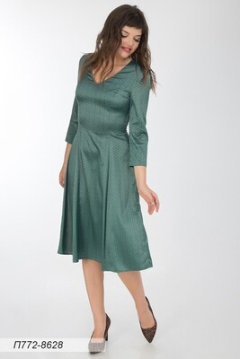 Платье 772 шелк-шифон плательн мятно-чер Нелли
