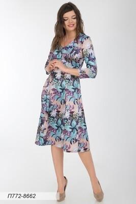 Платье 772 шелк-шифон плательн беж-фиол ягоды