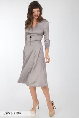 Платье 772 шелк-шифон плательн сер-мятн узор