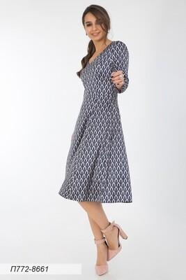Платье 772 шелк-шифон плательн пудрово-син Стелла