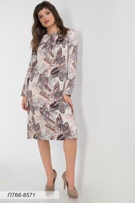 Платье 766 шелк-шифон плательн беж-корич тропики
