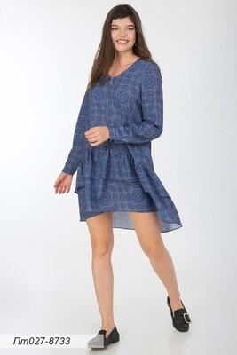 Платье-туника 027 креп-шифон син-беж Дафна