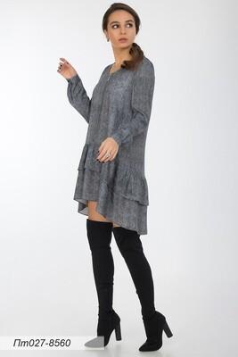 Платье-туника 027 креп-шифон черн-бел Макс