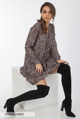 Платье-туника 027 креп-шифон беж-корич леопард
