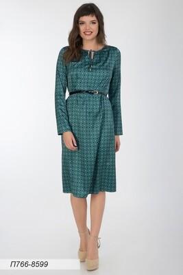 Платье 766 шелк-шифон плательн бирюз-черн квадрат
