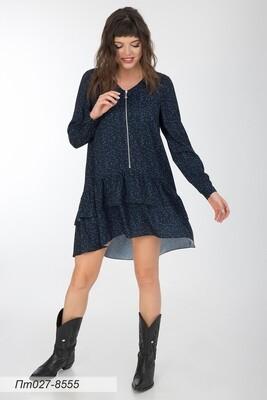 Платье-туника 027 креп-шифон син-черн Созвездие