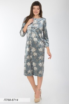 Платье 768 велюр серо-беж магнолия