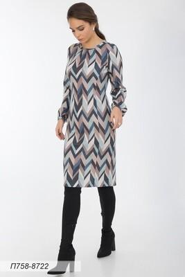 Платье 758 тр-ж Верона беж-син зигзаг