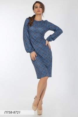 Платье 758 тр-ж Верона син-беж Василиса