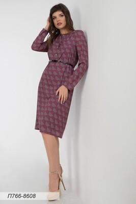 Платье 766 креп-шифон корич-малин Николь