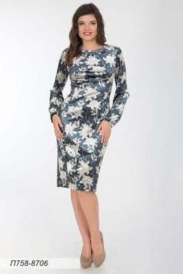 Платье 758 велюр сине-песочный магнолия