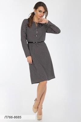 Платье 766 креп-шифон черно-беж Лика
