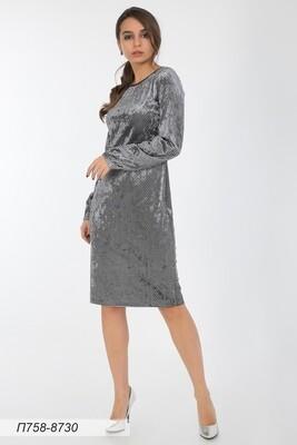 Платье 758 велюр серо-черн Паулина
