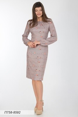 Платье 758 тр-ж Верона беж-коралл птички