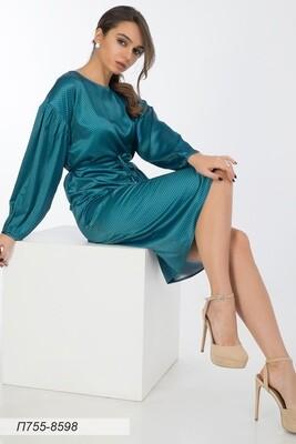 Платье 755 шелк-шифон плательн морская волна градация