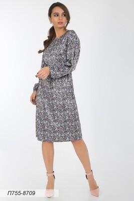 Платье 755 шелк-шифон плательн сер-розов мозайка