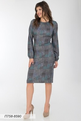 Платье 758 тр-ж Верона беж-зелен Капли