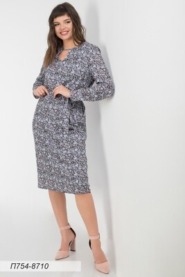 Платье 754 креп-шифон серо-розов мозайка
