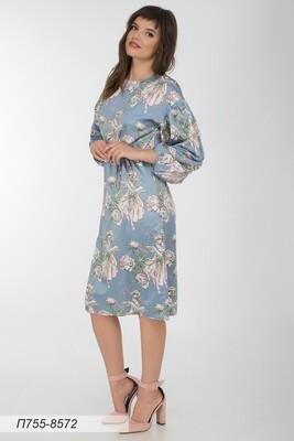 Платье 755 шелк-шифон плательн сер-кремов Эльф