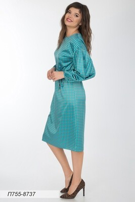 Платье 755 шелк-шифон бирюз-золот меандр