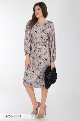 Платье 755 шелк-шифон плательн беж-чер маки