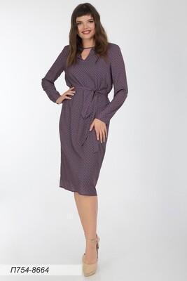Платье 754 креп-шифон син-красн орнамент