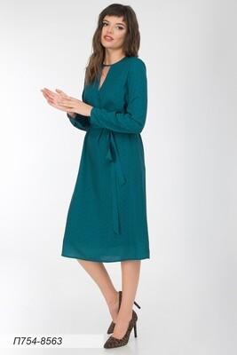 Платье 754 креп-шифон изумруд-черн графика