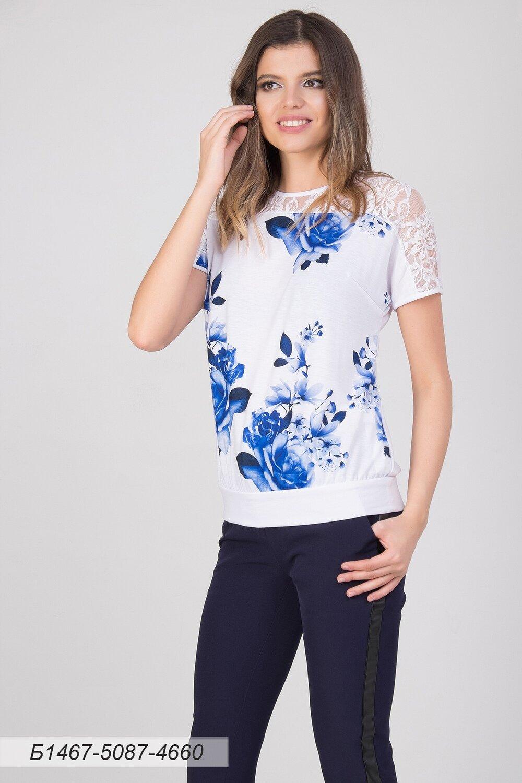 Блузка 1467 тр-ж бело-синий Симона/ кружево бел Цветы