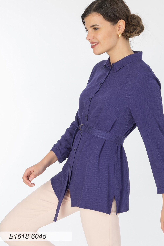 Блузка 1618 вискоза Жаккард синяя