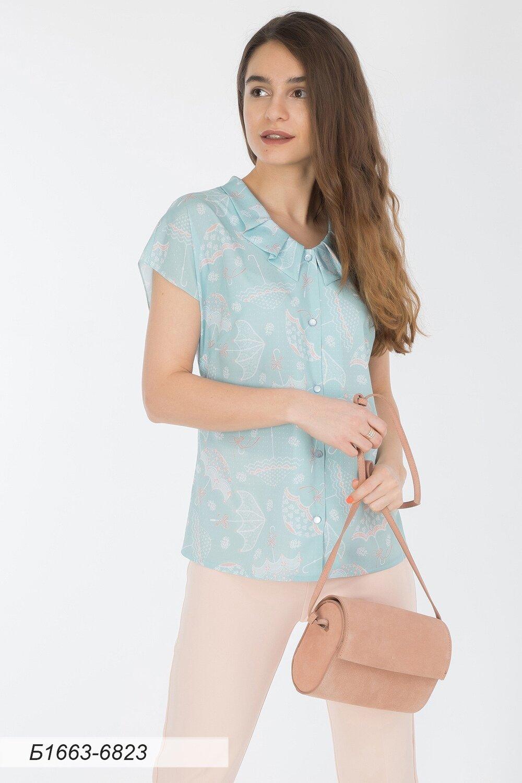 Блузка 1663 креп-шифон Модена мятный зонтики