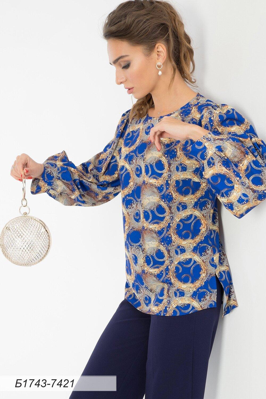 Блузка 1743 креп-шифон сине-золот Ричи