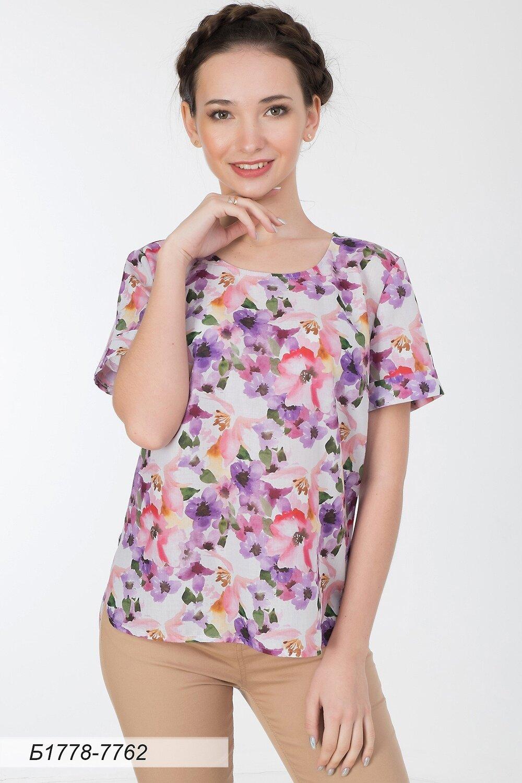 Блузка 1778 вуаль лилово-розов Акварель