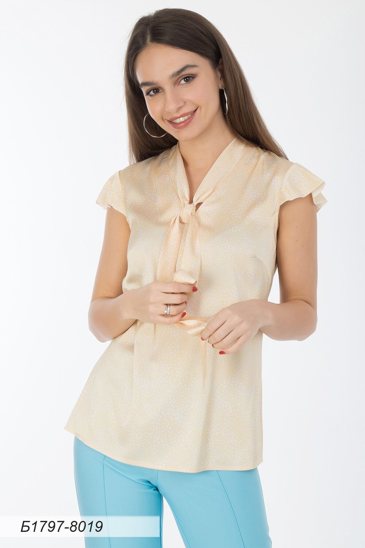 Блузка 1797 шелк-шифон Армани песочный крап