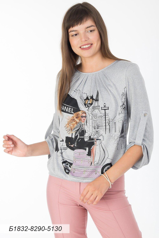 Блузка 1832 тр-ж Эльза серо-черн Шанель