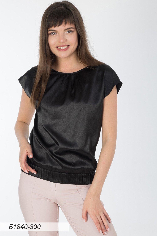Блузка 1840 шелк-шифон черный