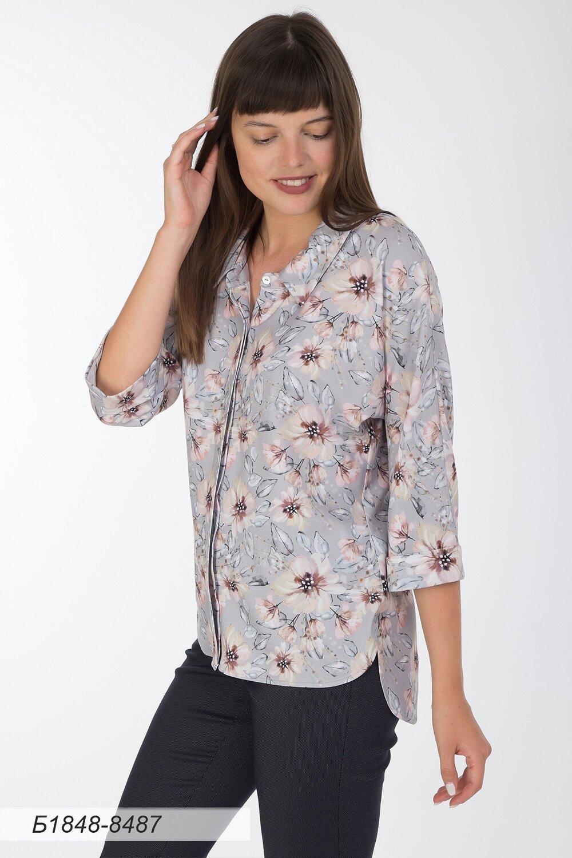 Блузка 1848 вискоза твил серо-кремовая Цветы