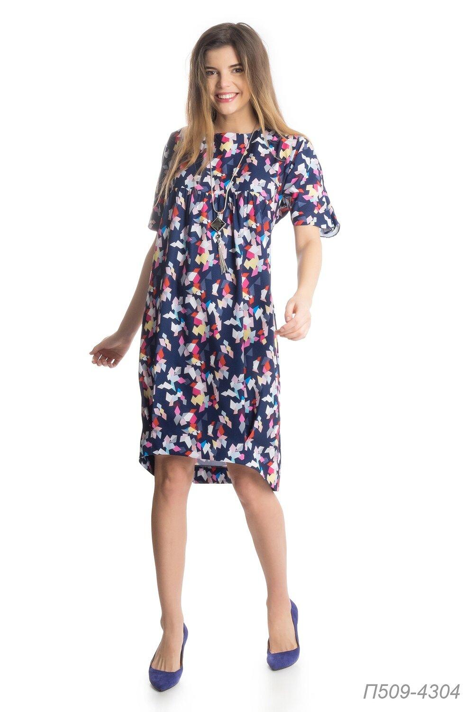 Платье 509 креп сине-цветной Осколки