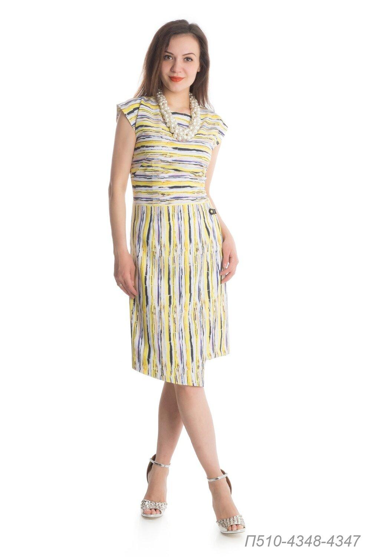 Платье 510 вискоза желто-черн Пляж горизонт/ виск Пляж вертикаль