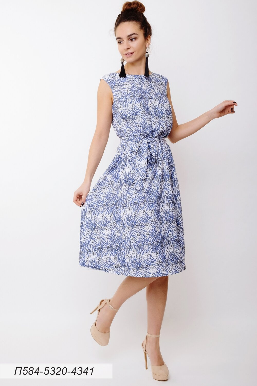 Платье 584 лен-стрейч белый Лаванда