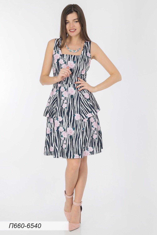 Платье 660 лен бело-черный Зебра