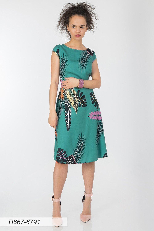 Платье 667 вискоза твил зелено-оранжевый Гавайи