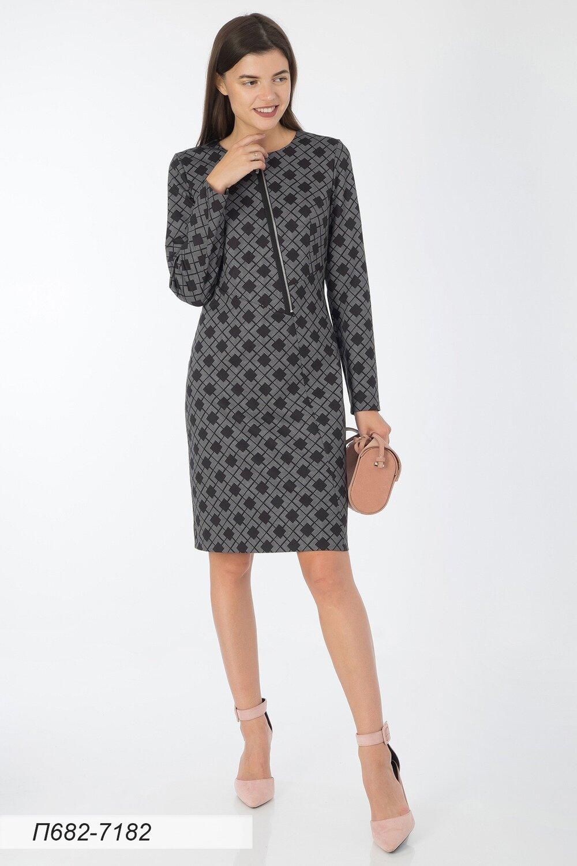 Платье 682 тр-ж серо-черн Николь