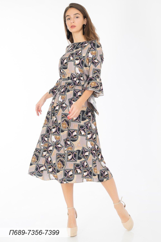Платье 689 креп-шифон беж-черн Ампир